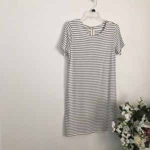 Black and white stripped cotton T-shirt dress